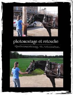 photomontage et retouche femme avec cheval et paysage
