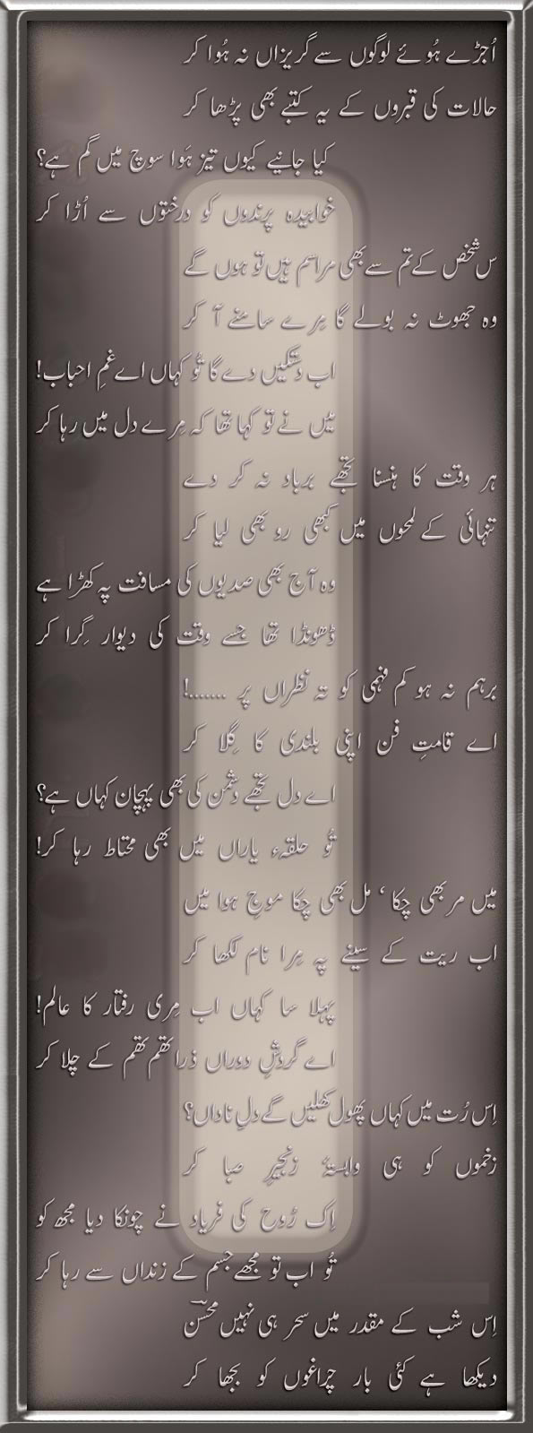 Ghazal by Mohsin Naqvi - Urdu Poetry
