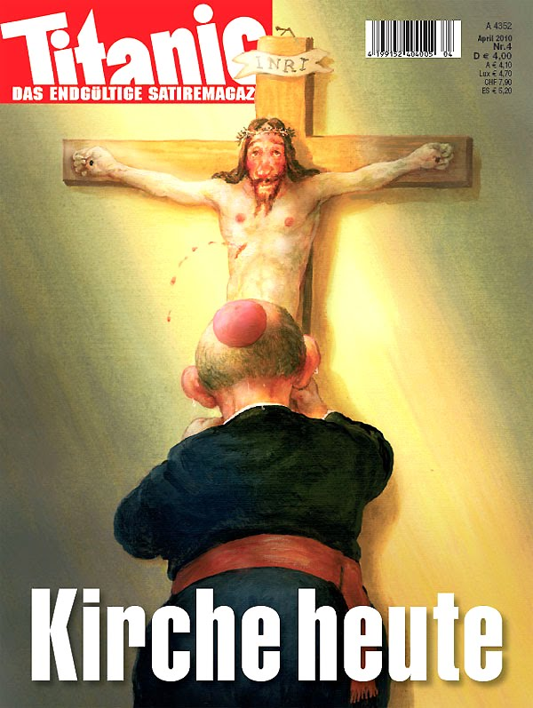 jesus on cross cartoon. A German cartoon mocking the