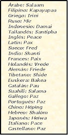 La palabra PAZ en distintos idiomas.