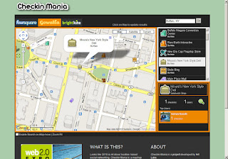 Checkin Mania using Gowalla screen shot.