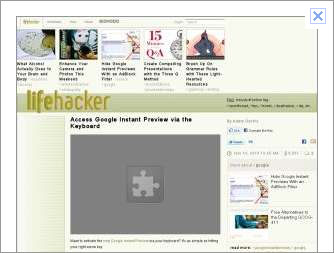 Google Instant Preview showing the Lifehacker page with a broken puzzle piece icon in place of an embedded movie.