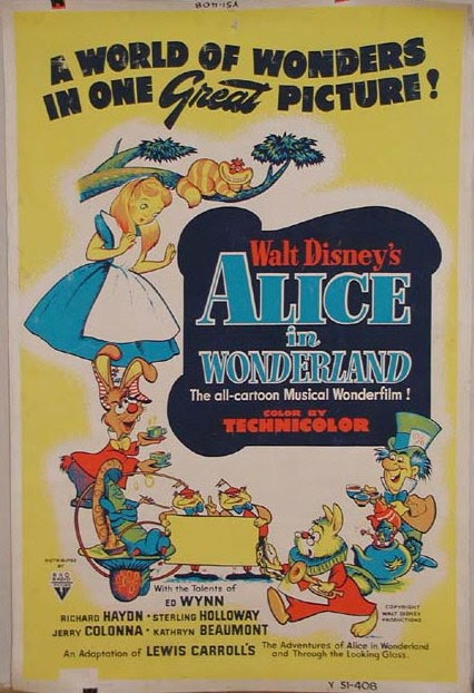 Vintage Disney Alice in Wonderland: Original 1951 40 x 60 Movie Poster