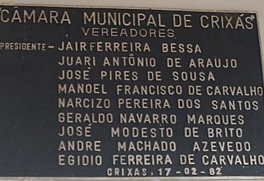 Placa de Inauguração da Câmara de Crixás