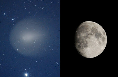 Comparación del tamaño aparente de la Luna y el cometa 17P/Holmes