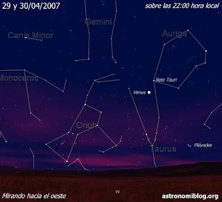 Venus y Beta Tauri los días 29 y 30/04/2007