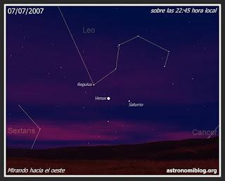 Venus, Saturno y Regulus el 07/07/2007