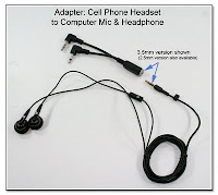 CP1042: Cell Phone Headset to Computer Mic and Headphone Adapter