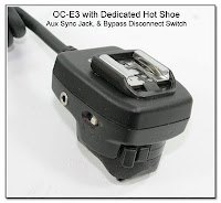 OC1009: OC-E3 with Dedicated Hot Shoe, Aux Sync Jack and Bypass Disconnect Switch (Closeup)