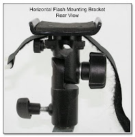 PJ1009: Horizontal Flash Bracket - Mounted on Lumopro Umbrella Adapter
