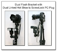 DF1002: Dual Flash Bracket (Monopod Under Camera Mount) with Dual Linked Canon OC-E3 for eTTL or Manual Flash