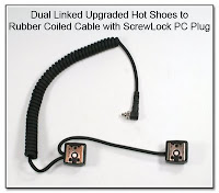 Dual Linked Upgraded Hot Shoe to Rubber Coiled Cable with ScrewLock PC Plug
