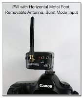 PJ1049: PW with Horizontal Metal Foot, Removable Antenna, and Burst Mode Input