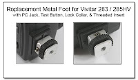 PJ1056: Replacement Metal Foot for Vivitar 283 / 285 HV with PC Jack, Test Button, Lock Collar, and Treaded Insert