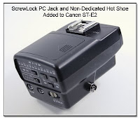 OC1001: ScrewLock PC Jack and Non-Dedicated Hot Shoe Added to Canon ST-E2