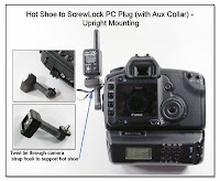 SC1004: Hot Shoe to ScrewLock PC Plug (with Aux Collar - Upright Mounting