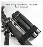 DF1030: Dual Battery Pack Holder - Monopod Version with Batteries (Closeup)