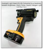 CP1106: Dedolight Light Head (DLH4) Converted to a Handheld, Variable Brightness, Zoom Focus, Quartz Halogen Light - Left Rear View