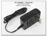 SC1060E: AC Adapter 8.4 volts DC @ 0.6 amp - Universal Input (100-240 volts AC)