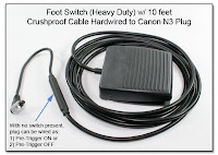 LT1021B (PT1029A): Foot Switch w/ 10 feet Crushproof Cable, Hardwired to Canon N3 Plug