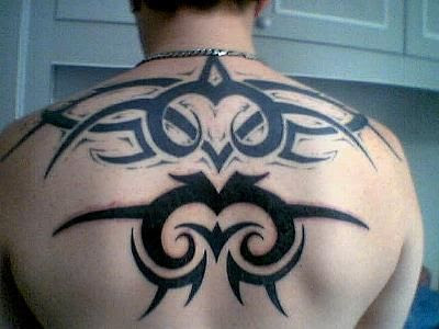 Upper Back Tribal Tattoo. Label: Tattoo Badan, Tattoo Lengan