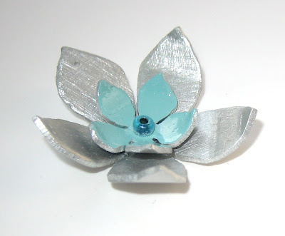 Handmade flower pendant by surf jewels handmade jewellery -  pendant, jewellery, bead, aluminium, painted, turquoise, saw pierced, silver, flower, necklace, charm, pretty, shiny, layered, handmade, ethical, eco, green, UK, local, environmental