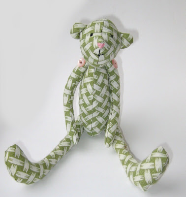 recycled handmade bear by surf jewels handmade jewellery - bear,  sewn,  sewing,  handmade, made, buttons, teddie, green,  pink, cute, fabric, cuddly, toy