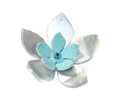 handmade layered flower pendant by surf jewels handmade jewellery - flower, layered, turquoise, pretty, silver, aluminium, bead, seed bead, handmade, eco, ethical, surf jewels