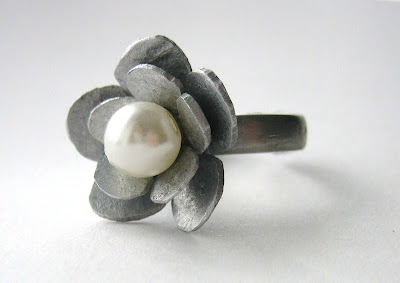 handmade ethical rind by surf jewels handmade jewellery- flower, aluminium, pendant, ring, silver, fork, recycled, eco, ethical, pearl, bead, layered, filed, sanded, handmade, surf jewels