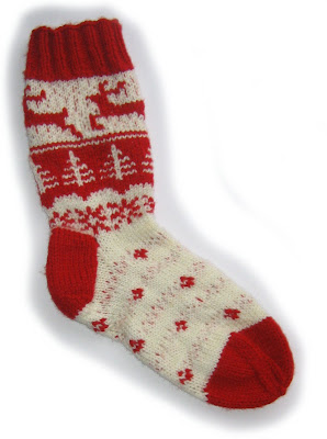 sock, knit, handmade, red, cream, white, pattern, fair isle, christmas, xmas, reindeer, snowflake, tree, stars