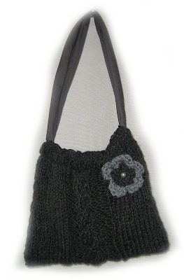 bag, knit, knitted,crochet, flower, cable, handmade,lined, cotton