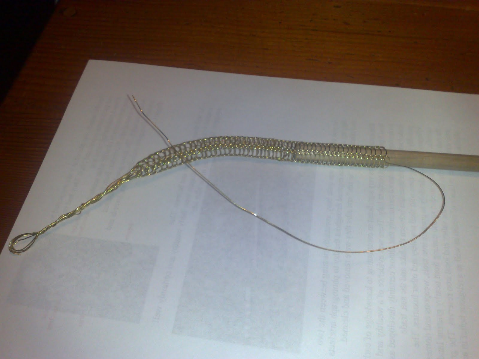 Viking wire weaving in progress