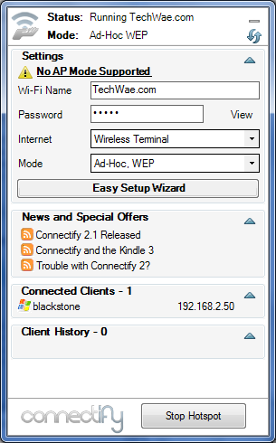 Configure Connectify - Share Internet Connection Using Connectify