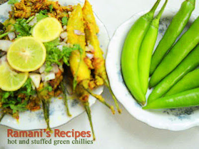 Hot and Stuffed Green Chillies - Ramani's Recipes