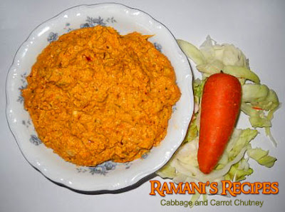 Say It Hot n Spicy With Green Leaf Chutneys - Cabbage and carrot Chutney - Ramani's Recipes