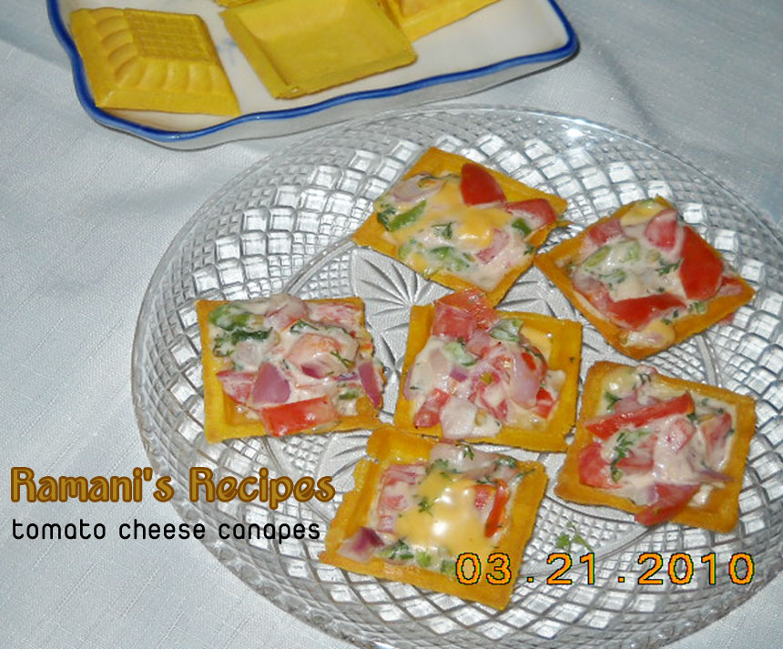 Ramani 39 s recipes tomato cheese canapes for Cheese canape ideas