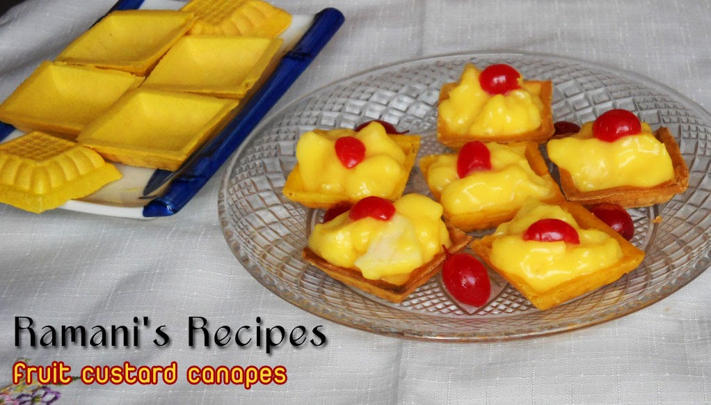 Ramani 39 s recipes fruit custard canapes for Canape cup fillings