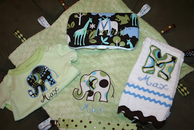 Baby  Gift Sets on Coordinating Fabric Make This Boy Onesie Whimsical And Fun