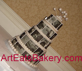 Black and White photos wedding cake by Art Eats Bakery