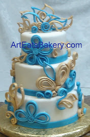 Three tier round fondant wedding cake