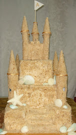 Sand castle square wedding cake