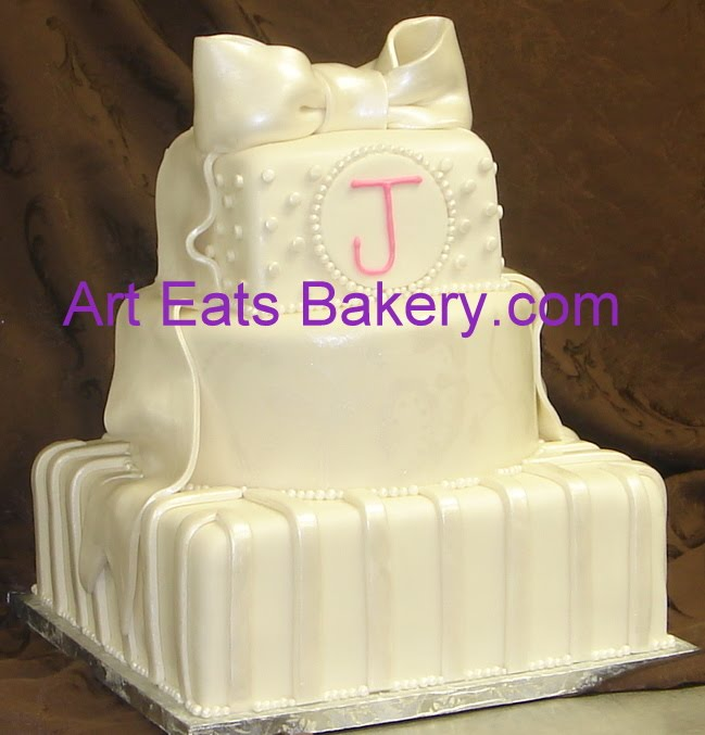 Round and square three tier pearl stripe and dots elegant custom wedding