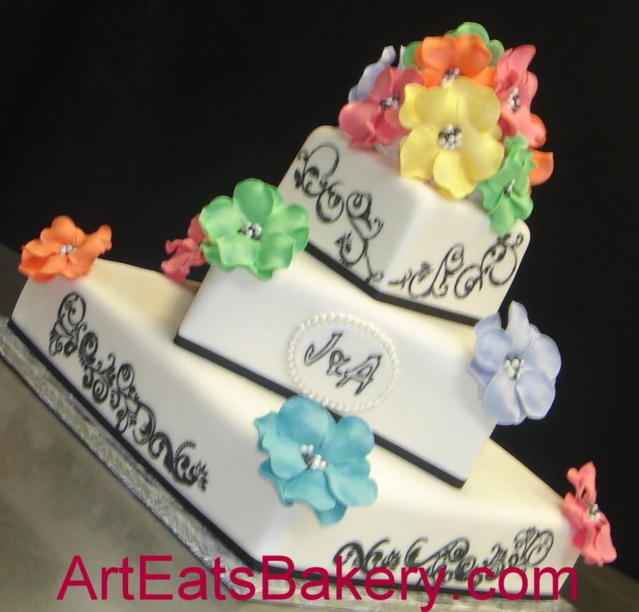 Tree+tier+black+and+white+fondant+square+wedding+cake+with+rainbow