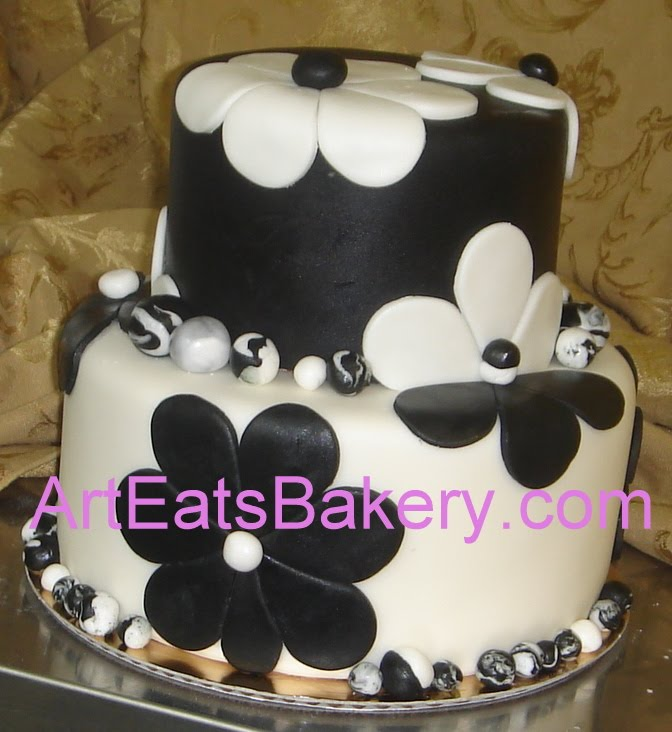 ... fondant flower and marbled pearls design two tier ladies birthday cake