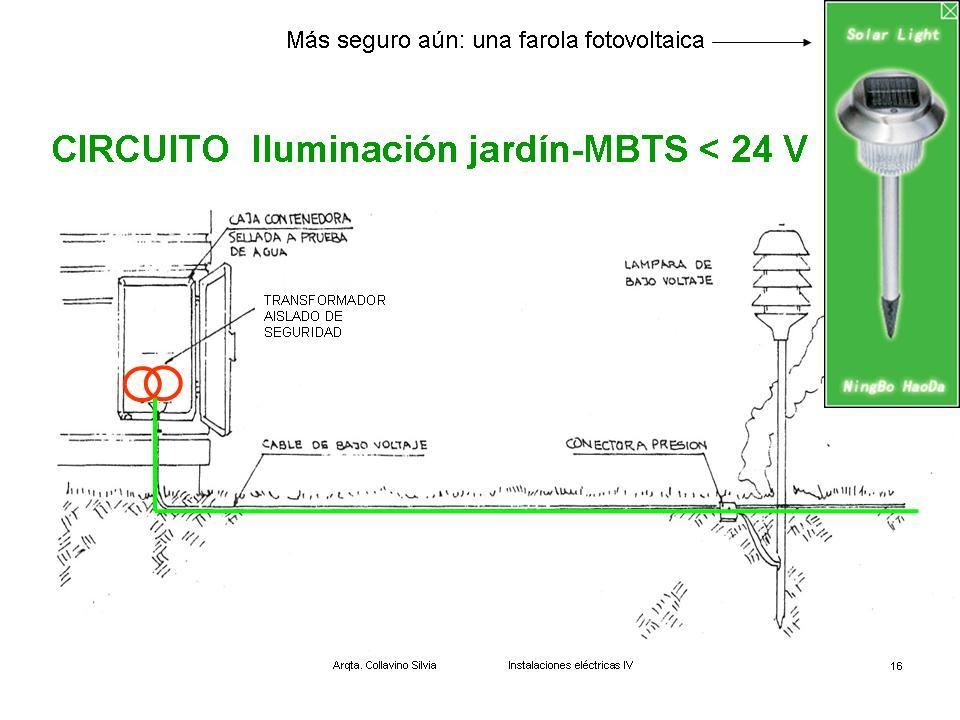 Instalaciones el ctricas m b t s iluminaci n exterior for Instalacion electrica jardin