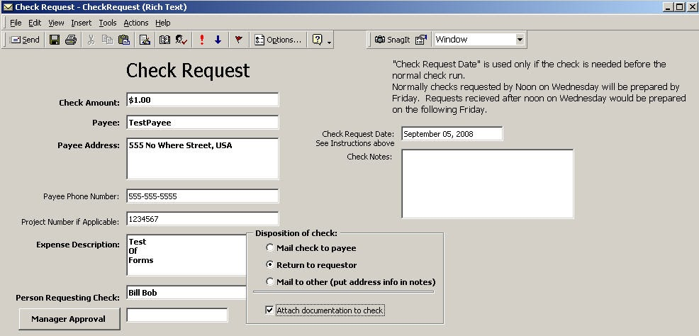 Qvlweb: Outlook Forms 13 - Completed Check Request Form