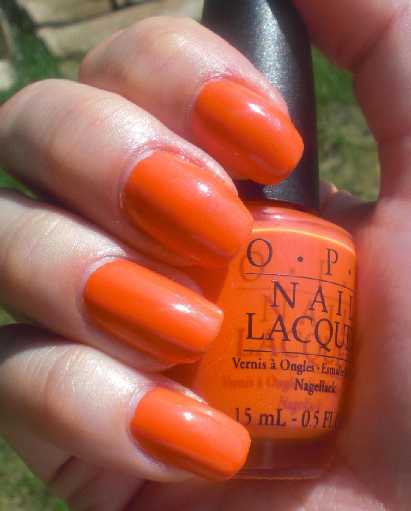 Concrete And Nail Polish: OPI Atomic Orange & My First Ruffian