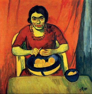 Bowl of Oranges (Woman Peeling Oranges) by Max Pechstein, 1910