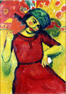 Young Woman with a Red Fan by Max Pechstein, 1910