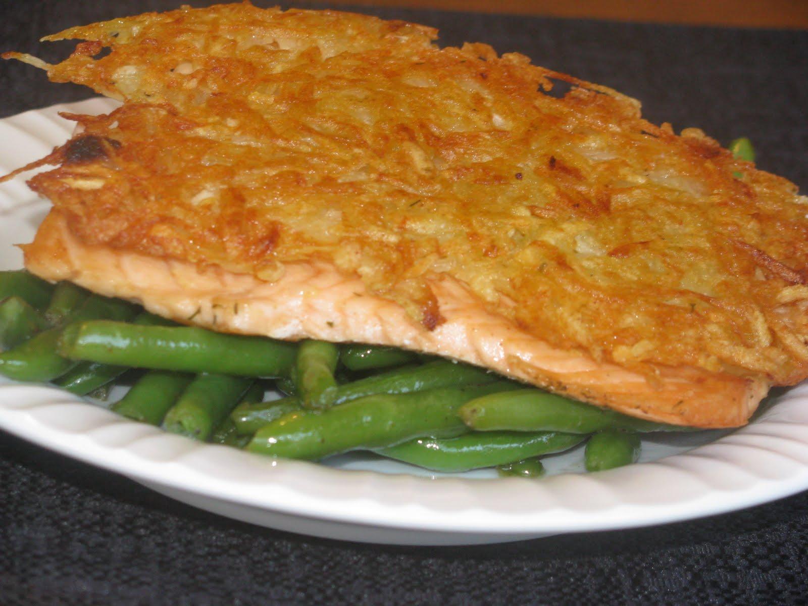 Shamrocks and shenanigans potato crusted salmon for Potato crusted fish